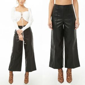 Forever 21 Faux Leather Wide Leg Cropped Pants